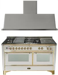 "2-Piece Stainless Steel Kitchen Package with UM150FSDMPI 60"" Freestanding Dual Fuel Range (Brass Trim, 5 Burners, French Cooktop) and UAM150I 60"" Wall Mount Range Hood"