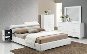 Manjot 20417EK4PC Bedroom Set with Eastern King Size Bed with Attached Nightstand + Dresser + Mirror + Chest in White Color