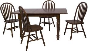 Andrews Collection DLU-TLB3660-820-CT5PC 5 Piece Butterfly Dining Set with Rectangular Table + 4 Arrowback Chairs
