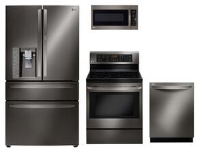 "4 Piece Black Stainless Steel Kitchen Package With LRE3083BD 30"" Electric Freestanding Range, LMV2031BD 30"" Over The Range Microwave, LMXS30776D 36"" French Door Refrigerator and LDT9965BD 24"" Fully Integrated Dishwasher"