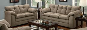 Luna 6565-0302 2 Piece Set including Sofa and Loveseat with Tufted Back and Block Feet in Mineral