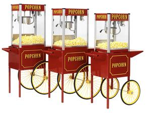 1108110  Theater Pop Poppers 8-Oz. Popcorn Machine with Built-In Warming Deck in Theater Red Finish and Popcorn Cart