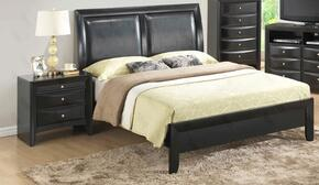 G1500AQBN 2 Piece Set including Queen Size Bed and Nightstand in Black