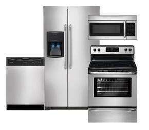 "4-Piece Stainless Steel Kitchen Package with FFHS2622MS 36"" Side-by-Side Refrigerator, FFEF3048LS 30"" Electric Range, FFBD2406NS Full Console Dishwasher and FFMV164LS Over-the-Range Microwave"