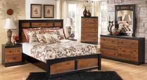 Tucker Collection Queen Bedroom Set with Panel Bed, Dresser, Mirror and Nightstand in Two Tone Brown