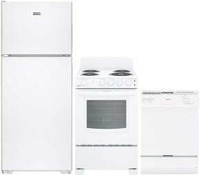 "3-Piece White Kitchen Package with HPS15BTHLWW 28"" Top Freezer Refrigerator, RA724KWH 24"" Freestanding Electric Range, and HDA3600HWW 24"" Full Console Dishwasher"