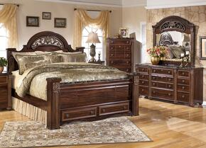 Gabriela Queen Bedroom Set with Poster Storage Bed, Dresser, Mirror and Chest in Dark Reddish Brown