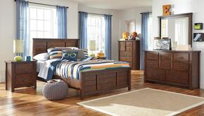 Hubbard Collection Twin Bedroom Set with Panel Bed, Dresser, Mirror and Nightstand in Rustic Brown
