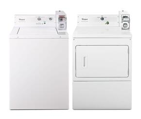 "Commercial White Top Load Laundry Pair with CAE2743BQ 27"" Washer and CGM2743BQ 27"" Gas Dryer"