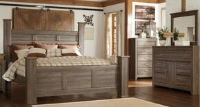 Juararo Queen Bedroom Set with Poster Bed, Dresser and Mirror in Dark Brown