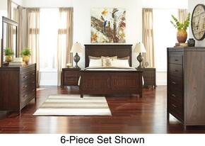 Timbol King Bedroom Set with Panel Bed, Dresser, Mirror, Nightstand and Chest in Warm Brown Finish