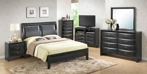 G1500AFBCHDMN 5 Piece Set including Full Size Bed, Chest, Dresser, Mirror and Nightstand in Black
