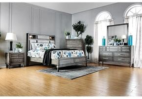 Daphne Collection CM7556KSBDMCN 5-Piece Bedroom Set with King Storage Bed, Dresser, Mirror, Chest and Nightstand in Grey Finish