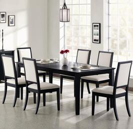 Lexton 101561SETA 7 PC Dining Room Set with Table + 6 Side Chairs in Black Finish