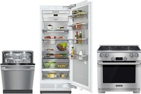 "3-Piece Kitchen Package with HR1124LP 30"" Freestanding Gas Range, G6875SCVISF 24"" Built In Fully Integrated Dishwasher, and K1803SF 30"" Counter Depth Refrigerator in Stainless Steel"