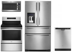 """4 Piece Kitchen package With WFE520S0FS 30"""" Electric Range, WMH31017FS Over The Range Microwave, WRX735SDBM 36"""" French Door Refrigerator and WDF520PADM 24"""" Built In Dishwasher In Stainless Steel"""