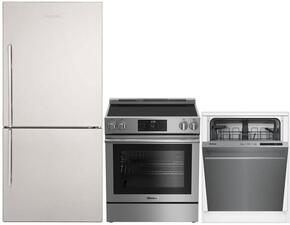 """3-Piece Kitchen Package with BRFB1812SSN 30"""" Bottom Freezer Refrigerator, BERU30420SS 30"""" Freestanding Electric Range, and a free DWT56502SS 24"""" Built In Fully Integrated Dishwasher in Stainless Steel"""