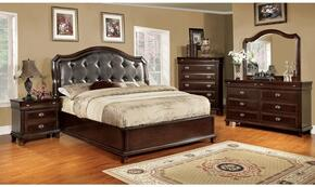 Arden Collection CM7065BDMCN 5-Piece Bedroom Set with Queen Bed, Dresser, Mirror, Chest, and Nightstand in Brown Cherry Finish