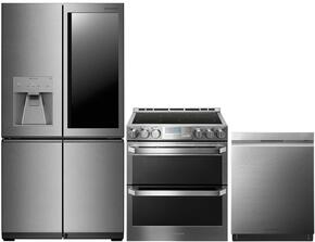 "3-Piece Stainless Steel Kitchen Package with LUPXC2386N 36"" French 4 Door Refrigerator, LUTE4619SN 30"" Slide-In Electric Range and LUDP8997SN 24"" Fully Integrated Dishwasher"