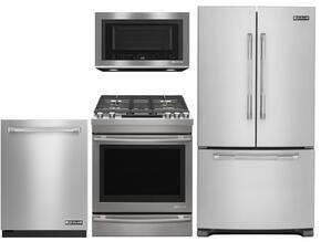 "4-Piece Kitchen Package With JFC2089BEP 36"" Counter Depth French Door  Refrigerator, JGS1450FP 30"" Slide-in Gas Range, JMV8208CS 30"" Over the Range Microwave Oven and JDB9000CWP 24"" Fully Integrated Dishwasher in Stainless Steel"