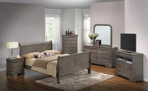 G3105AQBSET 6 PC Bedroom Set with Queen Size Sleigh Bed + Dresser + Mirror + Chest + Nightstand + Media Chest in Grey Finish