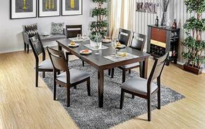 Joinville I Collection CM3985T6SC 7-Piece Dining Room Set with Rectangular Table and 6 Side Chairs in Dark Walnut Finish