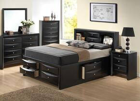 G1500GFSB3DMN 4 Piece Set including  Full Size Bed, Dresser, Mirror and Nightstand  in Black