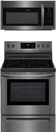 "2-Piece Black Stainless Steel Kitchen Package with FFEF3054TD 30"" Freestanding Electric Range and FFMV1645TD 30"" Over-the-Range Microwave"