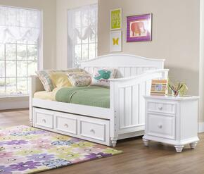 SummerTime 846674041BTN 3 PC Bedroom Set with Day Bed + Nightstand + Trunde Storage Unit in White Color
