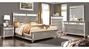 Salamanca Collection CM7673KBDMCN 5-Piece Bedroom Set with King Bed, Dresser, Mirror, Chest and Nightstand in  Silver Finish