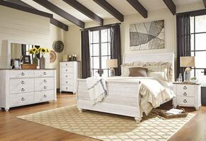 Willowton Queen Bedroom Set with Sleigh Bed, Dresser, Mirror, 2 Nightstands and Chest in Whitewashed Color