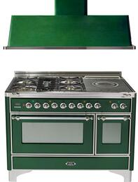 "2-Piece Emerald Green Kitchen Package with UM120SDMPVSX 48"" Freestanding Dual Fuel Range (Chrome Trim, 5 Burners, French Cooktop) and UAM120VS 48"" Wall Mount Range Hood"