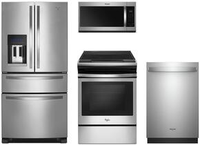 "4-Piece Stainless Steel Kitchen Package with WRX735SDBM 36"" French Door Refrigerator, WEE510S0FS 30"" Slide-In Electric Range, WMH32519HZ 30"" Over the Range Microwave, and WDT975SAHZ 24"" Fully Integrated Dishwasher"