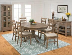 941-66TBKTSET7 Slater Mill Round to Oval Dining Table with 6 Ladderback Chairs