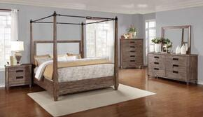 Madeleine Collection 203541KW5SET 5 PC Bedroom Set with California King Size Canopy Bed + Dresser + Mirror + Chest + Nightstand in Smoky Acacia Finish