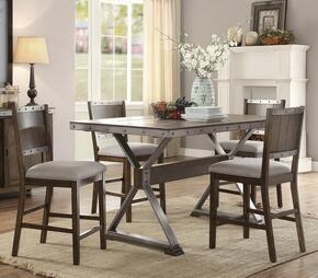 Beckett Collection 107018TC 5 PC Counter Height Dining Room Set with Dining Table + 4 Side Chairs in Dark Ash Wood Finish