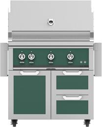 """36"""" Freestanding Liquid Propane Grill with GCR36GR Tower Grill Cart with Double Drawer and Door Combo, in Grove Green"""