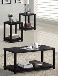 Wei 08276CET Coffee Table + 2 End Tables with Shelf Base, Square Legs, Block Footing and Select Hardwoods in Espresso Finish