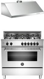 "Bertazzoni Stainless Steel 2-Piece Kitchen Package With MAS365GASXE 36"" Gas Freestanding Range with 5 Burners and KU36PRO1X14 36"" Wall-Mount Hood For 50% Off"