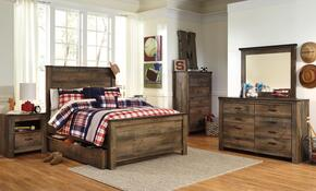 Trinell Full Bedroom Set with Panel Bed with Trundle, Dresser, Mirror, 2 Nightstands and Chest in Brown