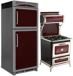 "3-Piece Cranberry Kitchen Package with HCTMR20RCRN 30"" Top Freezer Refrigerator, 4210CDGCRN 30"" Freestanding Dual Fuel Range, and HCDWI1CRN 24"" Fully Integrated Dishwasher"