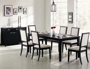 Lexton 101561SETB 8 PC Dining Room Set with Table + Server + 6 Side Chairs in Black Finish