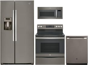 "4-Piece Slate Kitchen Package with GSE25HMHES 36"" French Door Refrigerator, JB655EKES 30"" Freestanding Electric Range,  JVM6175EKES 30"" Over the Range Microwave, and GDF610PMJES 24"" Full Console Dishwasher"