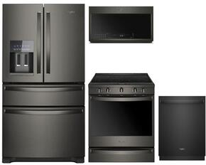 "4 Piece Kitchen Package With WRX735SDHV 36"" French Door Refrigerator , WEE750H0HV 30"" Slide-in Electric Range, WMH78019HV Over the Range Microwave Oven and WDT970SAHV 24"" Built In Dishwasher in Black Stainless Steel"