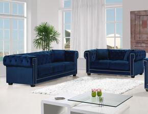 Bowery Collection 6142PCSTLKIT1 2-Piece Living Room Sets with Stationary Sofa, and Loveseat in Navy