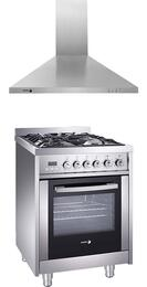 "2 Piece Stainless Steel Kitchen Package with RFA-244 DF 24"" Duel Fuel Range and 60CFP-24X 24"" Chimney Wall Mount Range Hood"