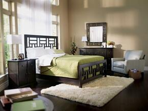 Perspectives Lattice Collection 6 Piece Bedroom Set With King Size Panel Bed + 2 Nightstands + Dresser + Drawer Chest + Mirror: Graphite
