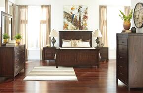 Timbol Queen Bedroom Set with Panel Bed, Dresser, Mirror, 2 Nightstands and Chest in Warm Brown Finish