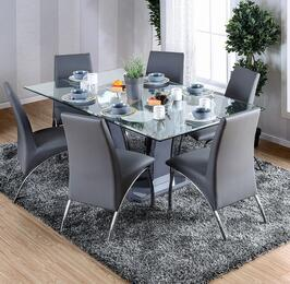 Glenview I Collection CM8372GYT6SC 7-Piece Dining Room Set with Rectangular Table and 6 Side Chairs in Grey/Chrome