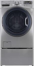 "DLEX3570V 27"" 7.4 Cu. Ft. Ultra Capacity Front Load Steam Graphite Steel Electric Dryer with WDP4V Pedestal"